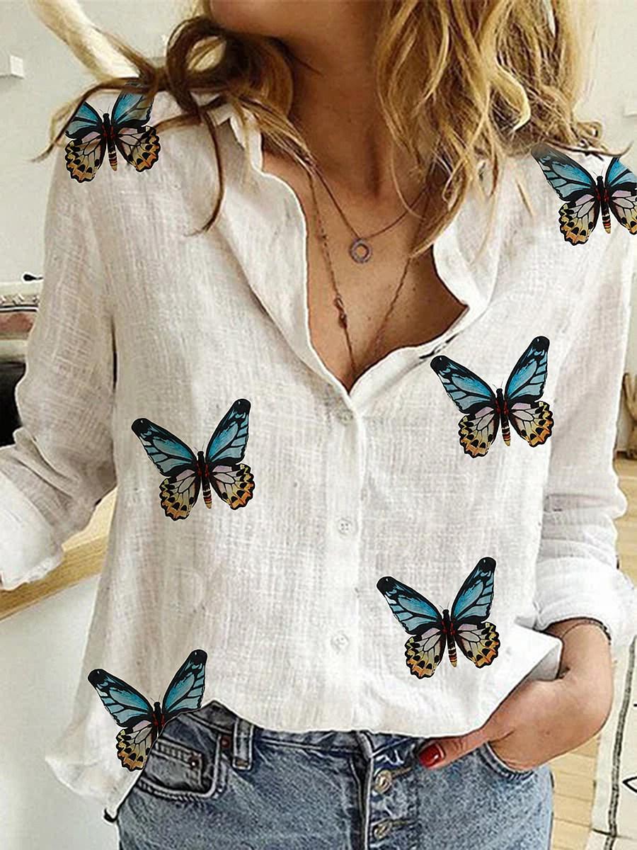 BerryLook Turn Down Collar Butterfly Print Long Sleeve Blouse