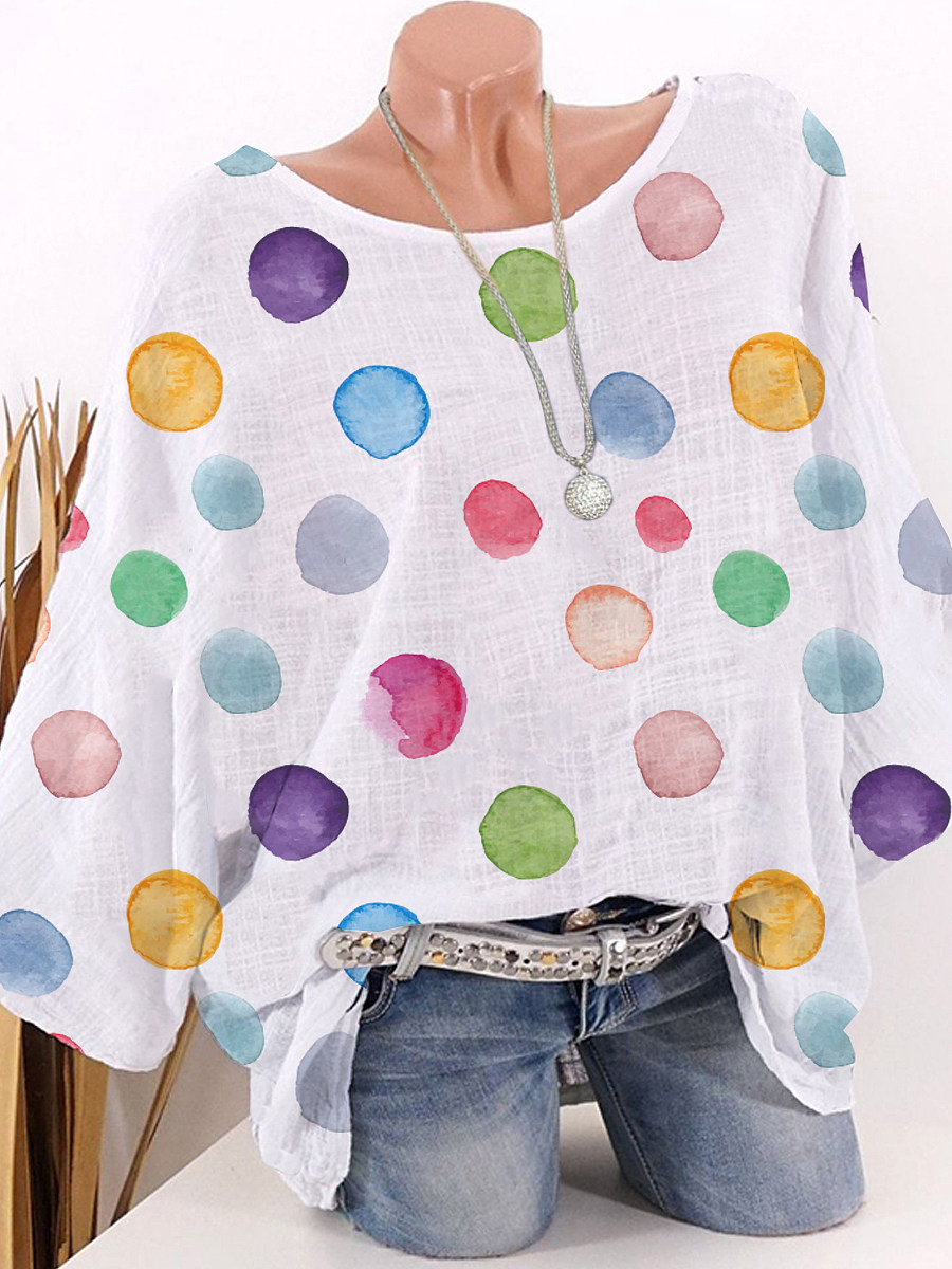 BerryLook Round Neck Dot Printed Half Sleeve Blouse