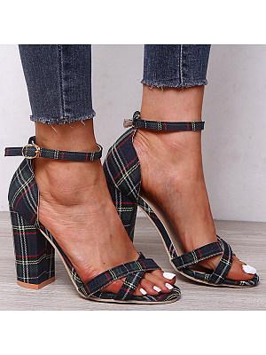 Open plaid colorblock buckle open-toe high-heel sandals, 11062767