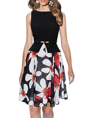 Berrylook Sleeveless stitching chiffon big fake two-piece dress online shop, online, skater dress flare dress, floral skater dress