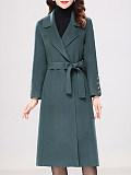 Elegant solid color lapel woolen coat