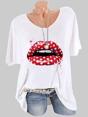 Round Neck Lip Print Short Sleeve T-shirt фото