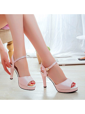 BERRYLOOK / Fish mouth buckle strap platform open toe sandals