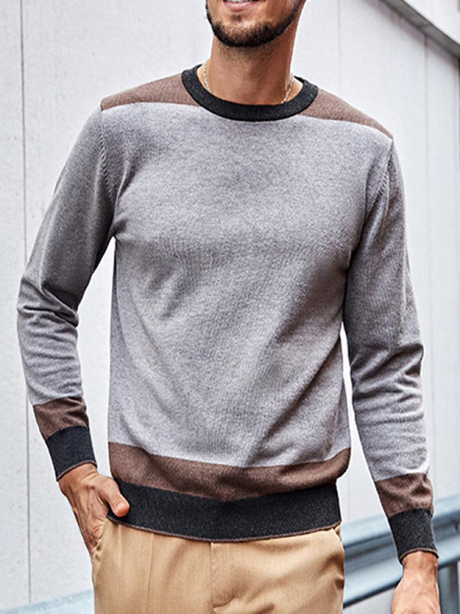 Mens retro British style contrast round neck sweater