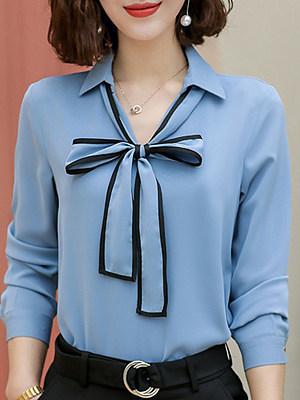 V Neck Bow Patchwork Long Sleeve Blouse, 11405504