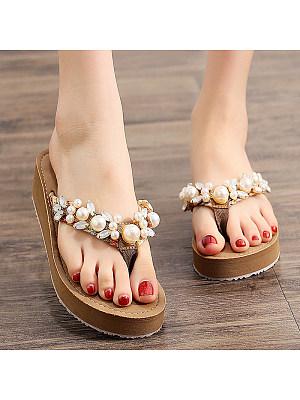 Beach Shoes Rhinestone Flat Sandals, 11303621