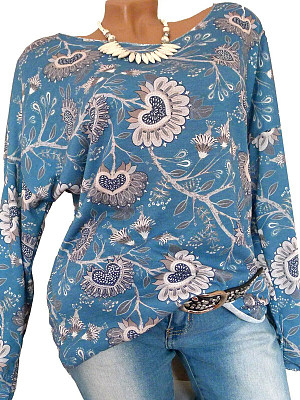 Round Neck Print Long Sleeve T-Shirt, 11184545