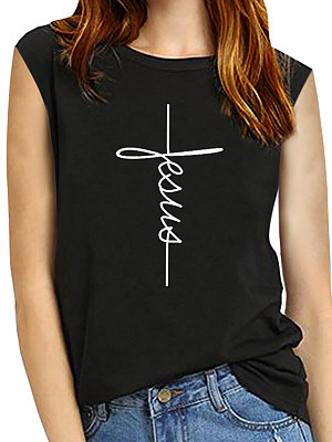 Round Neck Letters Sleeveless T-shirt, 11542850