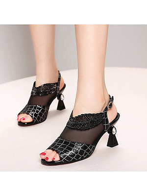 Women's Fashion Solid Color Rhinestone Mesh Sandals