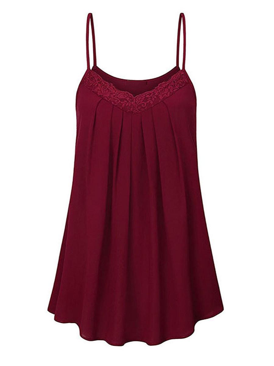 BerryLook Lace Patchwork Sleeveless T-shirt