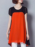 Image of Round Neck Color Block Short Sleeve Blouse