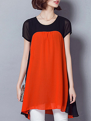 Round Neck Color Block Short Sleeve Blouse, 11269026