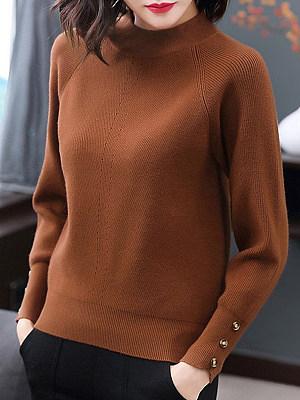 Round Neck Elegant Plain Decorative Button Long Sleeve Knit Pullover, 10262147