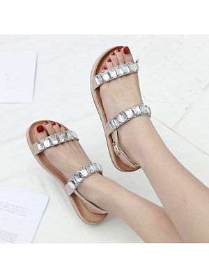Vacation beach rhinestone glass comfortable buckle flat sandals, 11381588