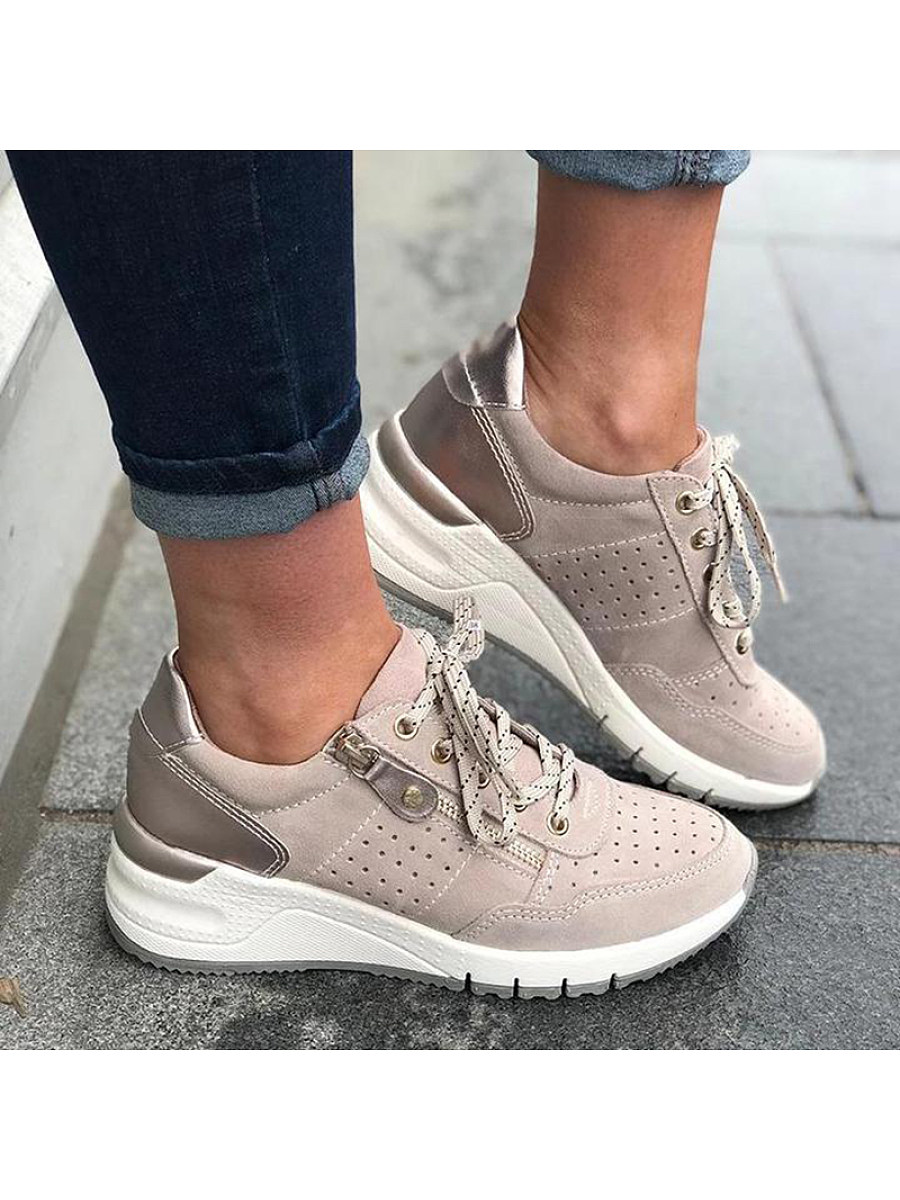 BerryLook Women's Casual Lace Up Platform Sneakers