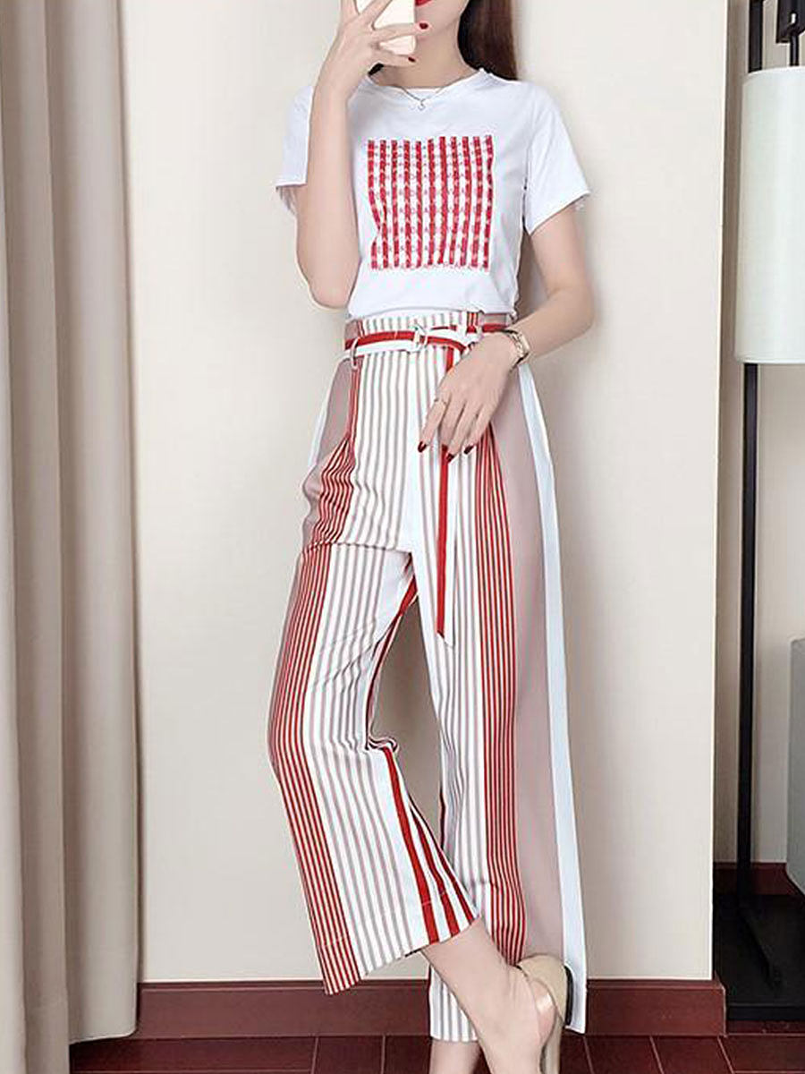 Round Neck Printed Short-sleeved Wide-leg Pants Casual Suit