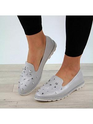 Round Toe Rivet Women Non-slip Fashion Flats, 11019153