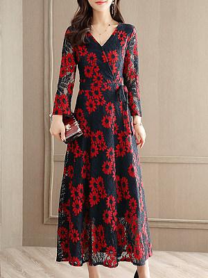 V-Neck Fashion Print Maxi Dress