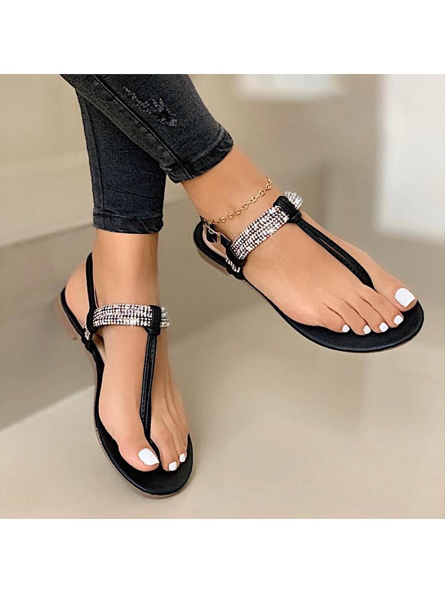 BerryLook Women's flat bottom rhinestone clip toe buckle casual sandals