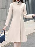 Notch Lapel Plain Pure Color Coat