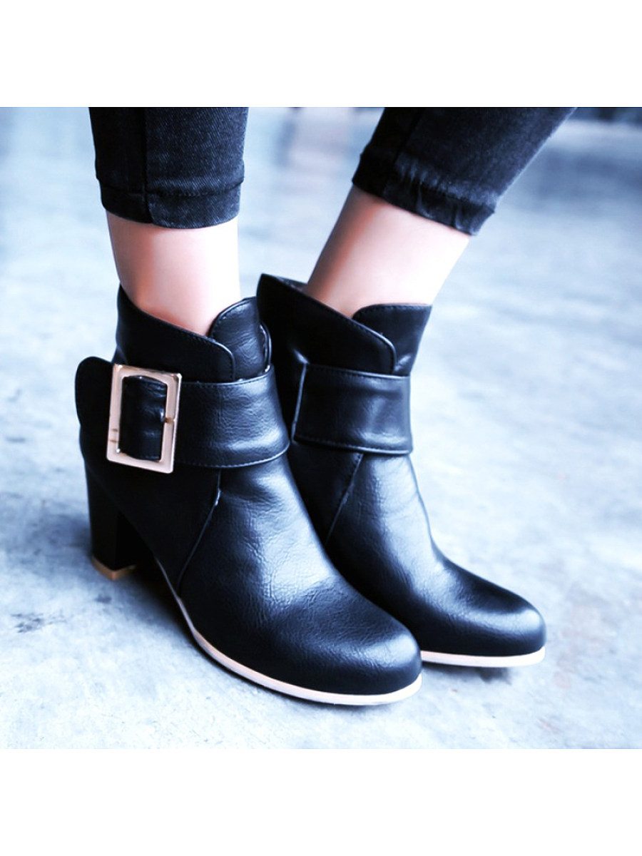 BerryLook Fashion ladies belt buckle pure color thick heel ankle boots