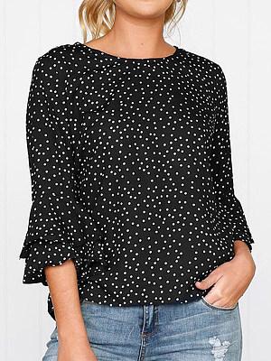 Round Neck Dot Bell Sleeve T-shirt