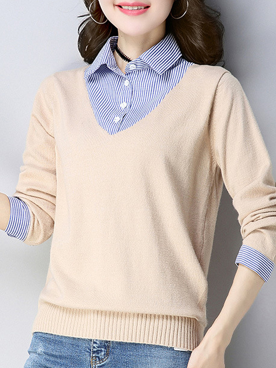 Turn Down Collar Elegant Patchwork Long Sleeve Knit Pullover - from $22.95