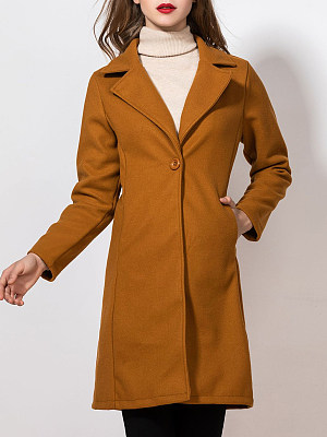 Women's casual mid-length woolen coat gender:female, season:autumn,winter,spring, collar:lapel collar, texture:polyester, sleeve_length:long sleeve, sleeve_type:regular sleeve, style:japan and south korea, design:single-breasted, dress_occasion:daily, bust:110,clothing length:97,shoulder width:42,