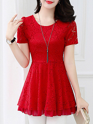 Round Neck Patchwork Lace Short Sleeve Blouse, 11207450