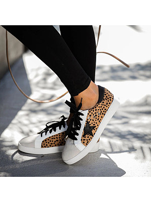 Casual Flat Women Leopard Star Lace-up Sneakers, 11006204