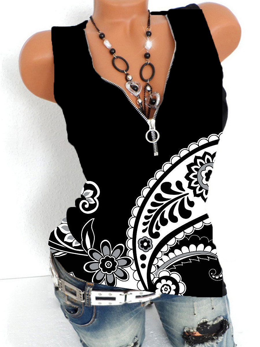 V Neck Zips Print Sleeveless T-shirt