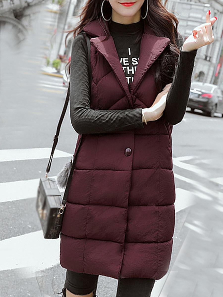 Stylish mid-length lapel solid color padded Waistcoat