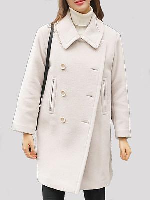 Woolen Mid-Length Coat, 25562475, BERRYLOOK  - buy with discount