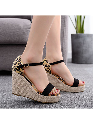 Leopard-print round-toe thick-soled fish-head wedge sandals