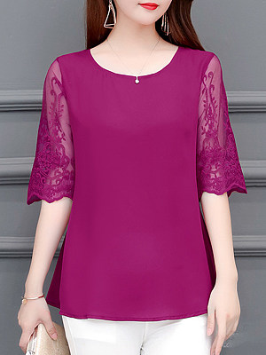 Round Neck Patchwork Lace Short Sleeve Blouse фото