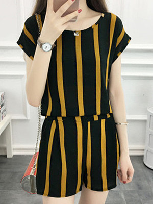 Round Neck Striped Short Sleeve T-shirt And Bottom Suit, 11273875