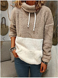 Image of Autumn and winter warm wool hooded color block drawstring sweater