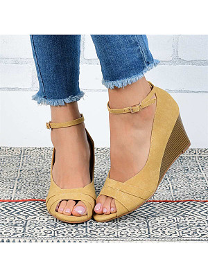 Solid color comfortable fish-toe wedge sandals, 11141992