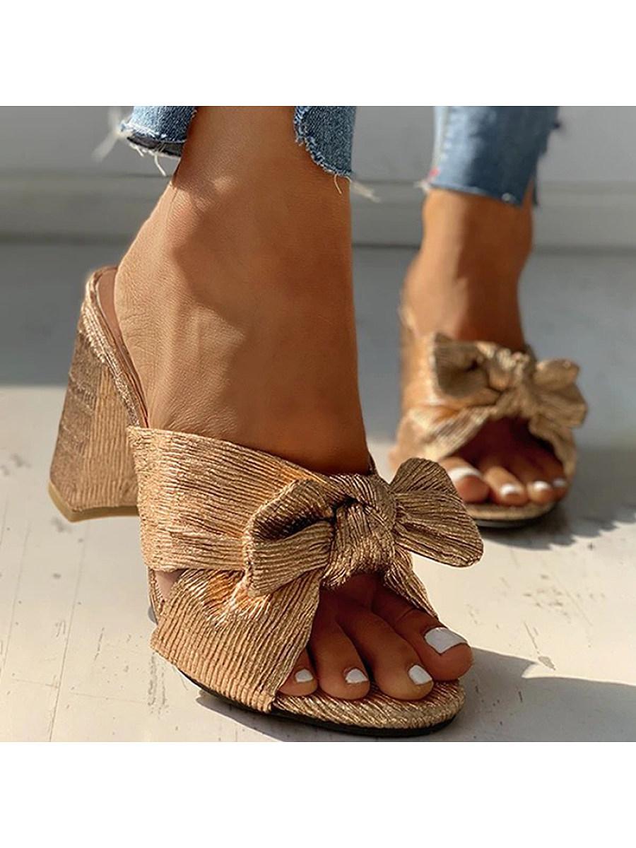 BerryLook Women's  golden thick heeled slippers