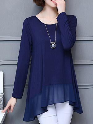 Round Neck Elegant Patchwork Long Sleeve T-Shirt, 10657947
