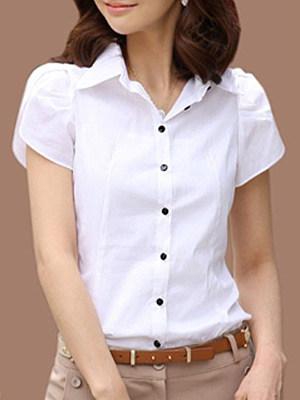 Turn Down Collar Plain Short Sleeve Blouse, 11415356