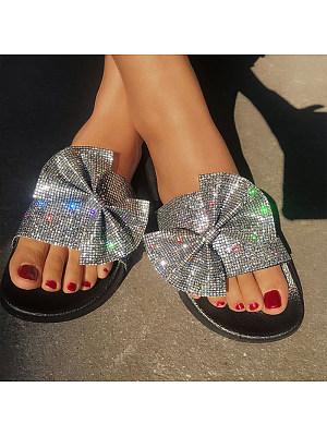 Fashion shiny bow slippers