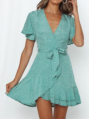 V-neck loose print mini dress