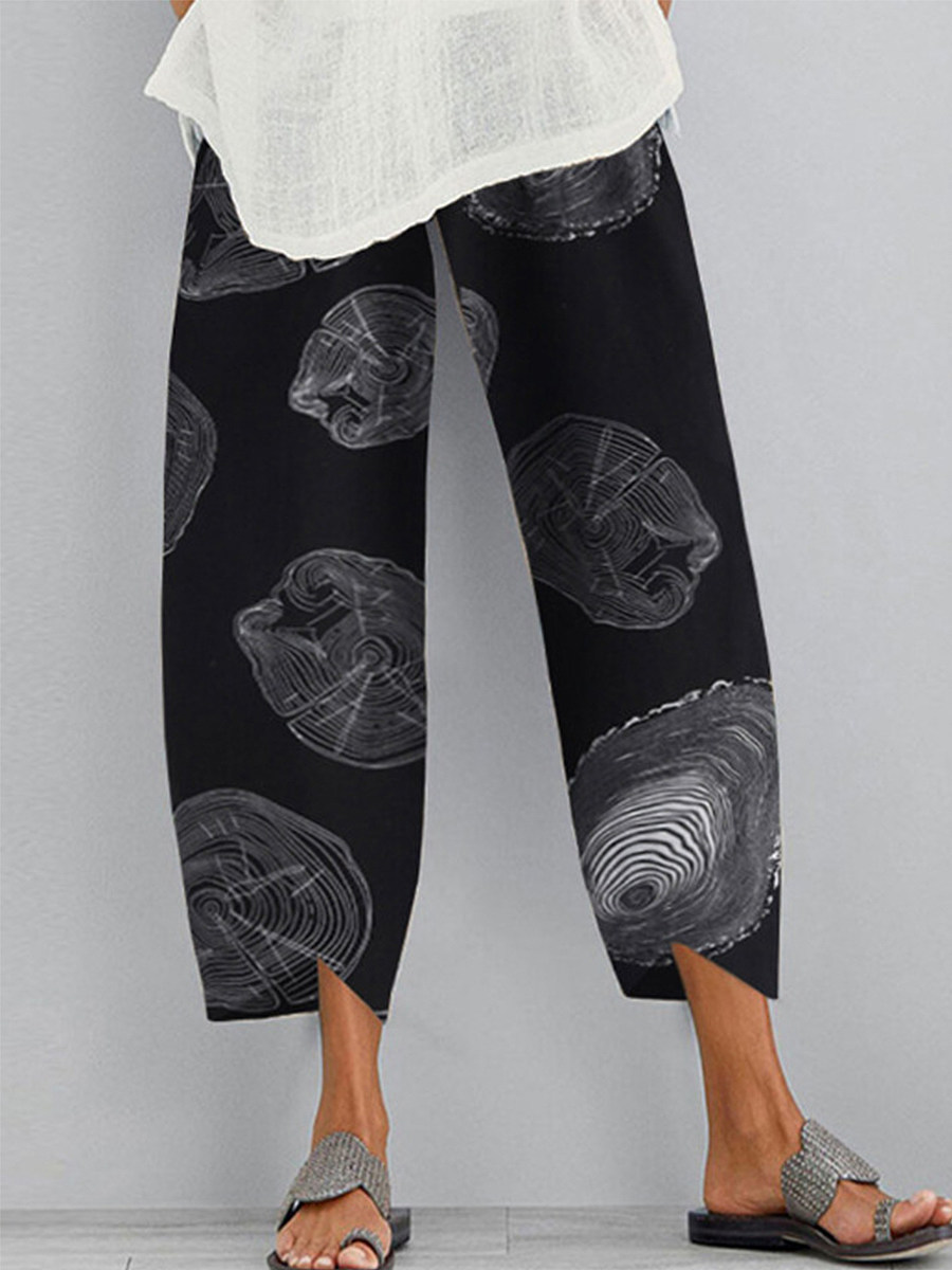 BerryLook New fashion loose cotton and linen printed casual pants