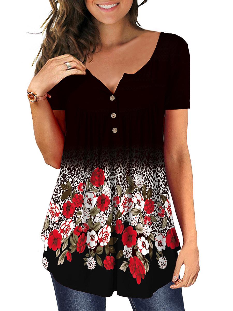BerryLook Round Neck Print Buttons Short Sleeve T-shirt