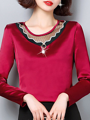 Women's Fashion Round Neck Patchwork Long Sleeve Blouse, 10804425