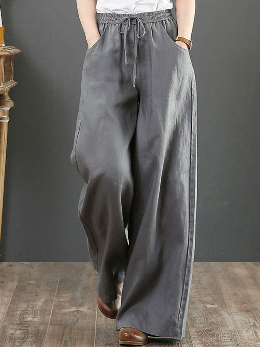 BerryLook Literary Cotton And Linen Loose Wide-Leg Pants