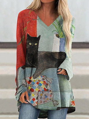 V Neck Cat Print Long Sleeve T-shirt, 25299688