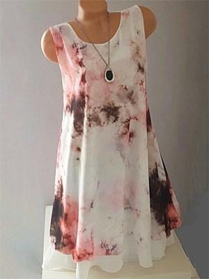Round Neck Printed Shift Dress фото