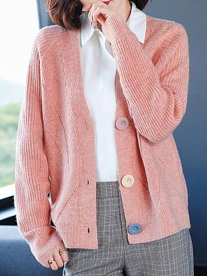 V Neck Buttons Plain Long Sleeve Knit Cardigan, 24834823